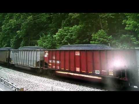 Up engine leading on a coal train in landgraff West Virginia/ns 4000 engine pushing on the back