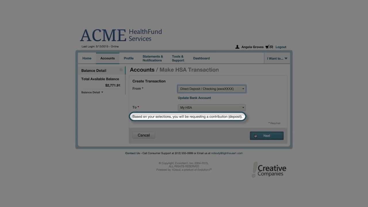 Consumer Portal Requesting HSA Contributions