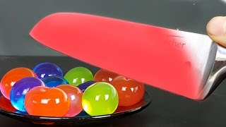 EXPERIMENT Glowing 1000 degree KNIFE VS ORBEEZ BALLS