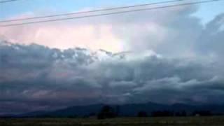 Amazing lightning strike into blue sky