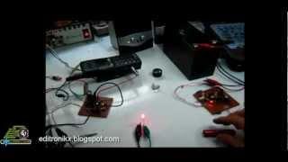 Transmisor y receptor de sonido por luz laser para comunicacion punto a punto.