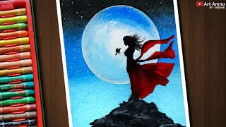 Drawing with Oil Pastels and Acrylic - A Girl on Mountain in Moonlight - Step by Step