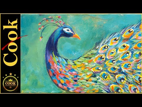 How to paint a Dramatic Peacock with a Colorful Splash  for the Beginner Artist