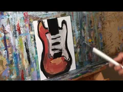 How to Paint a Guitar Fender Stratocaster - Modern Oil Painting Demo by Artist JOSE TRUJILLO