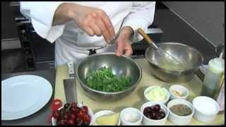 Cherry, Almond And Arugula Salad With White Balsamic Vinaigrette And Pecorino Lucano
