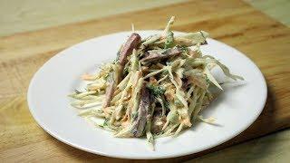 Салат из капусты с копченой колбасой Салаты на Праздничный стол