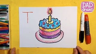 How to draw a cake for the holiday