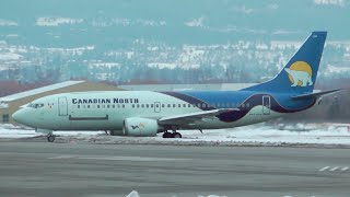 Canadian North Airlines Boeing 737-300 Taking Off from Kelowna, British Columbia.