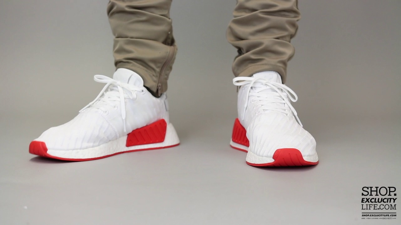 info for ac1dd fa59f Adidas NMD R2 PK Red White On feet Video at Exclucity