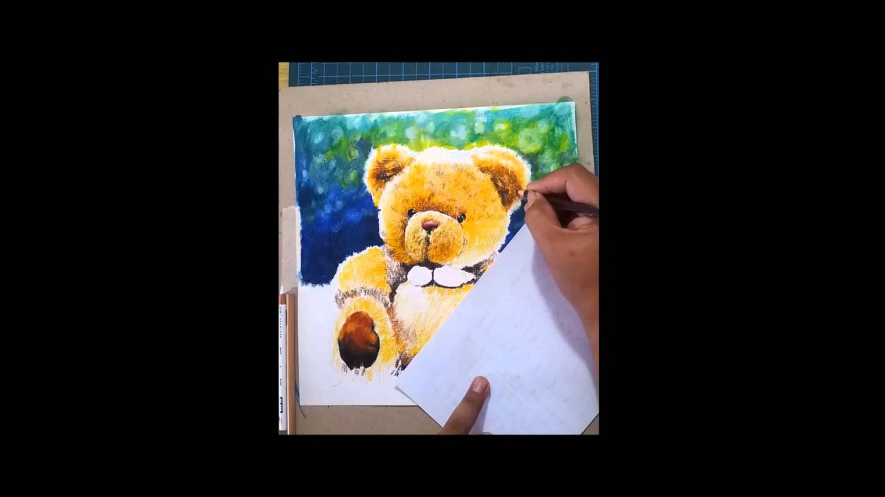 teddy bear drawing demo with prismacolor pencil by bong perez