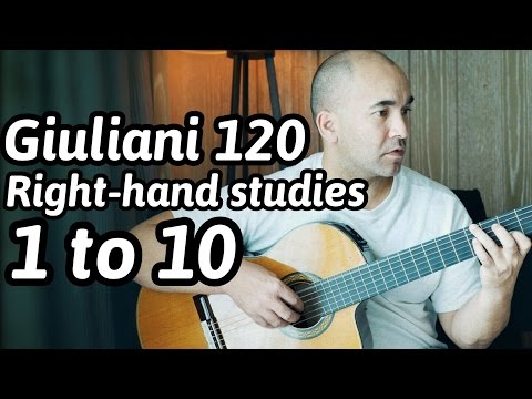 """Guitar Lesson """"Mauro Giuliani - 120 Exercises for the Right-Hand: 1 to 10"""" Note-By-Note + Free Tabs"""