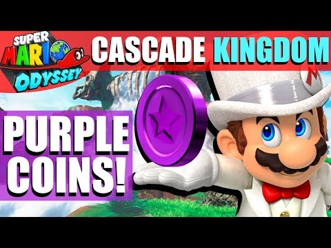 Super Mario Odyssey - ALL Cascade Kingdom Purple Coin Locations!! (50 Coins)
