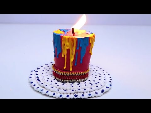 DIY Diwali Home Decoration Ideas - How to make Diwali Candles from waste candles with Earbud Base