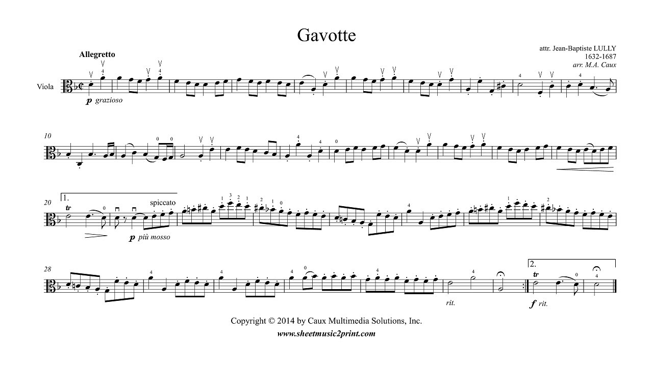 Lully : Gavotte in D minor - Viola - YouTube