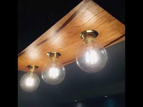 Wooden ceiling light oak+ipe