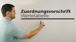 Zuordnungsvorschrift, Wertetabelle, Zuordnung, Mathehilfe online, Erklärvideo | Mathe by Daniel Jung