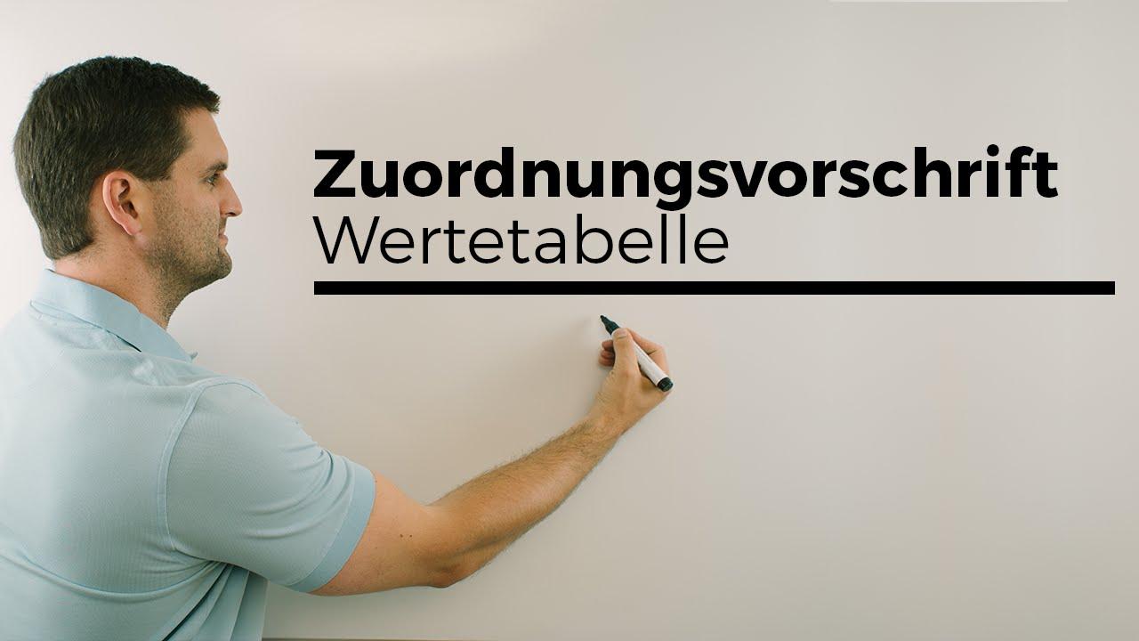 Zuordnungsvorschrift, Wertetabelle, Zuordnung, Mathehilfe online ...