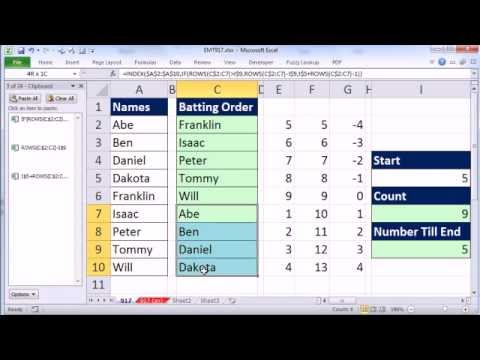 excel magic trick 917 rotating list with formula for little league
