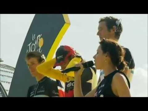 Tina Arena sings Australian National Anthem at Tour de France 2011