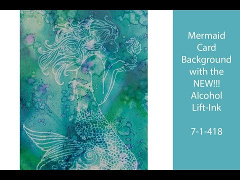 Alcohol Lift-Ink Alcohol Ink Mermaid Card Background on Yupo Paper