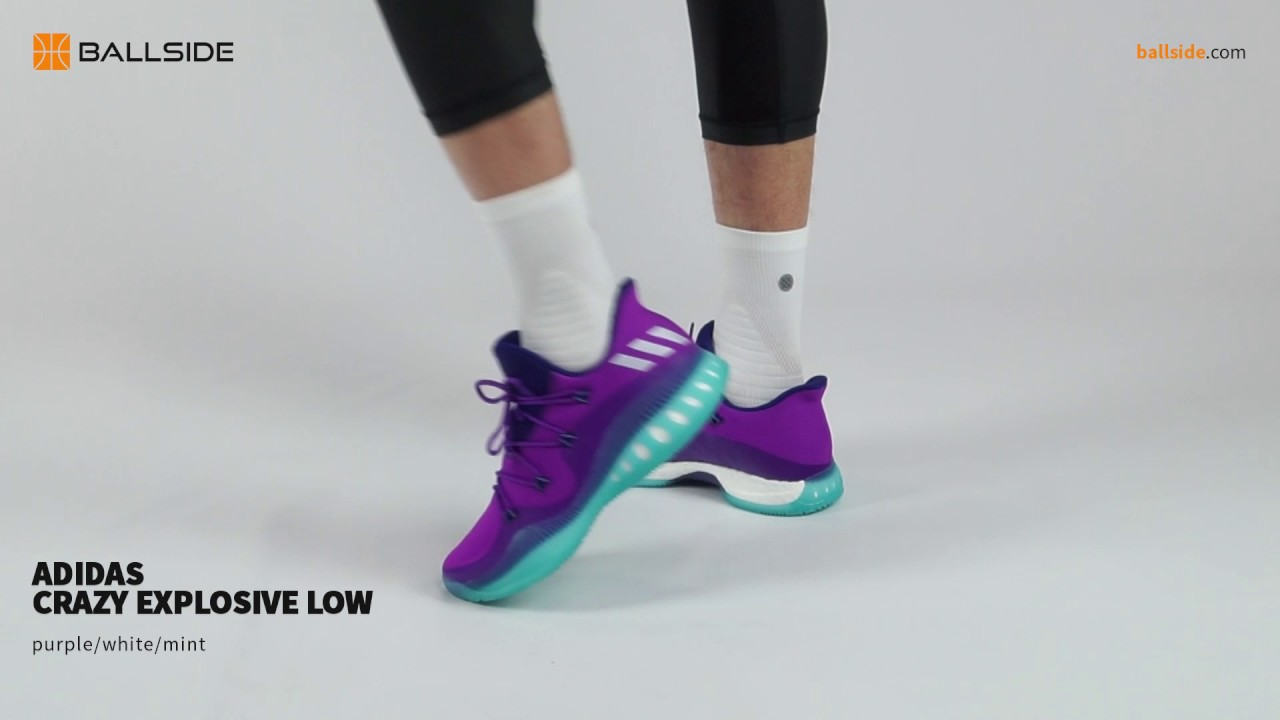 online store d26c5 dd80d adidas Crazy Explosive Low purple white on feet