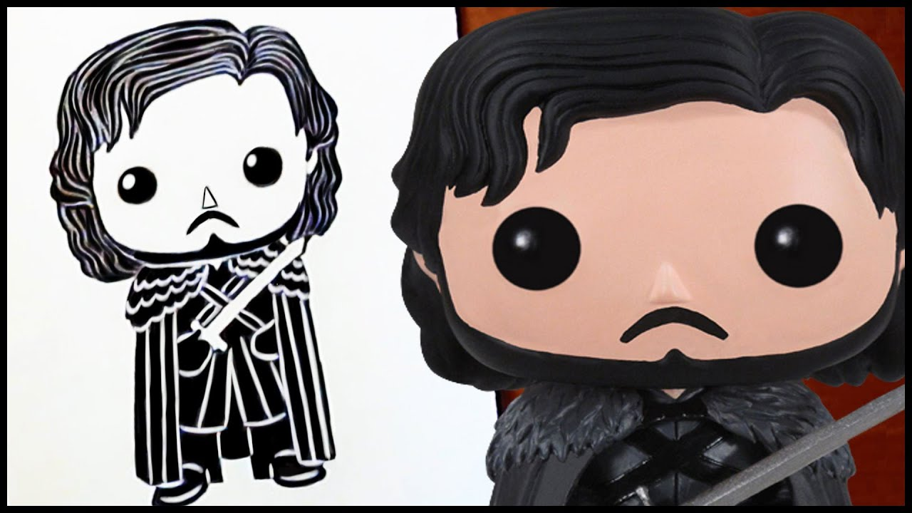 how to draw jon snow funko pop version youtube. Black Bedroom Furniture Sets. Home Design Ideas
