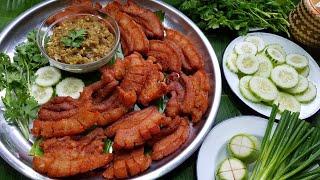 กับข้าวกับปลาโอ 476 : หมูทอดน้ำพริกหนุ่ม ผักเยอะๆ Moo Tod Nam Prik Num