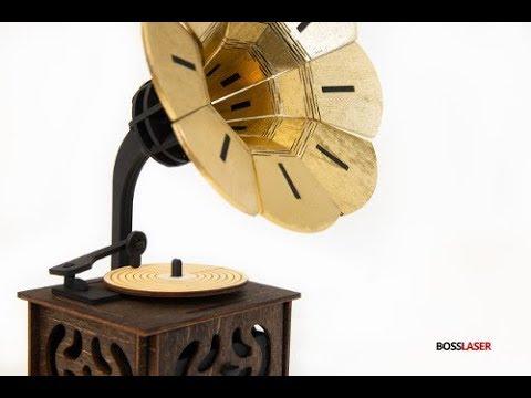 DIY CO2 Laser Cut Gramophone Wood Box - BOSS Laser