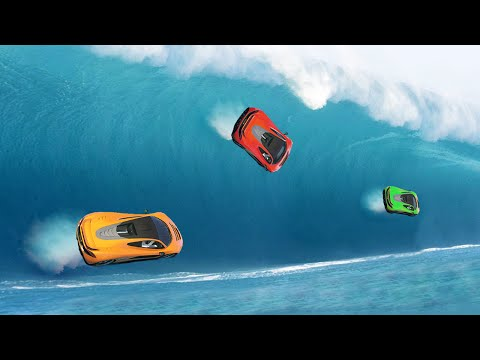 EXTREME TSUNAMI WAVE RACE! (GTA 5 Funny Moments)