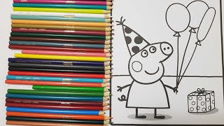 Peppa pig birthday celebration colouring page for kids|learn Colors|crayola colored pencils