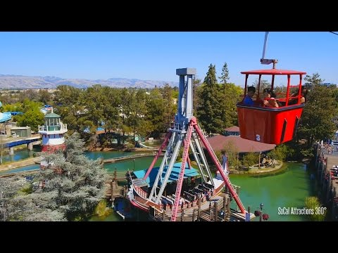 (POV) Delta Flyer| Sky Ride | View of California's Great America Theme Park from the air 2015