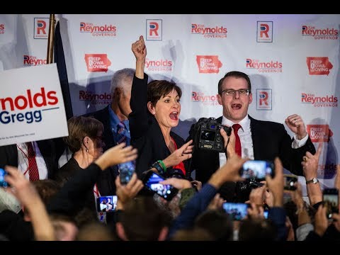 Republican Kim Reynolds celebrates being the first elected female governor of Iowa
