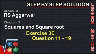 Square And Square Roots| Class 8 Exercise 3E Question 11 - 19| RS Aggarwal|Learn Maths