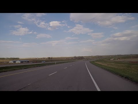Driving To Lethbridge Canada. Highway Drive Tour. Province Of Alberta.