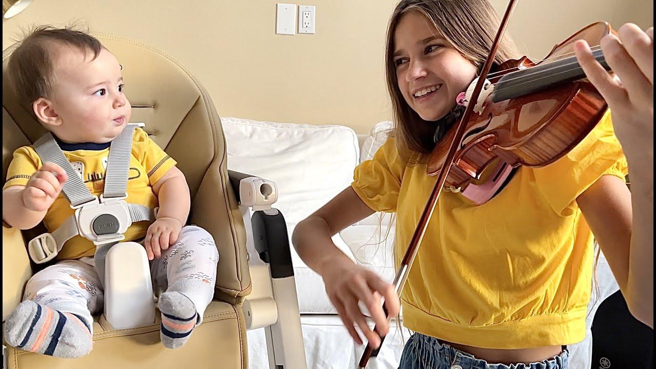 MY BABY BROTHER'S REACTION WHEN I PLAY | Suzuki Violin Book 2 - Waltz