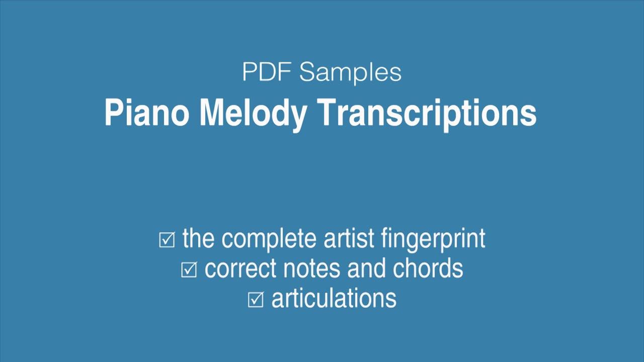 Piano Melody Transcriptions | jazzleadsheets com | jazzleadsheets