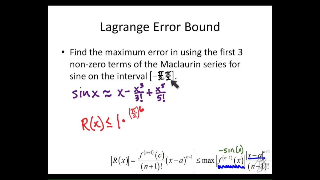9.3 - Lagrange Error Bound example - YouTube