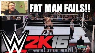 FAT MAN WWE 2K16 FAILS! PS4 Brock Lesnar vs The Rock Wrestlemania MATCH!