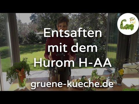 Hurom H-AA Teil 2 - verschiedene Saftzutaten werden verarbeitet
