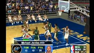 A Game of Michael Jordan Versus the Seattle Sonics - NBA Courtside 2002 - Sports of the Day 2/23/15