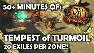 Path of Exile: 50+ mins of 20 EXILES PER MAP - Tempest of Turmoil Endgame Gameplay (Explosive Arrow)