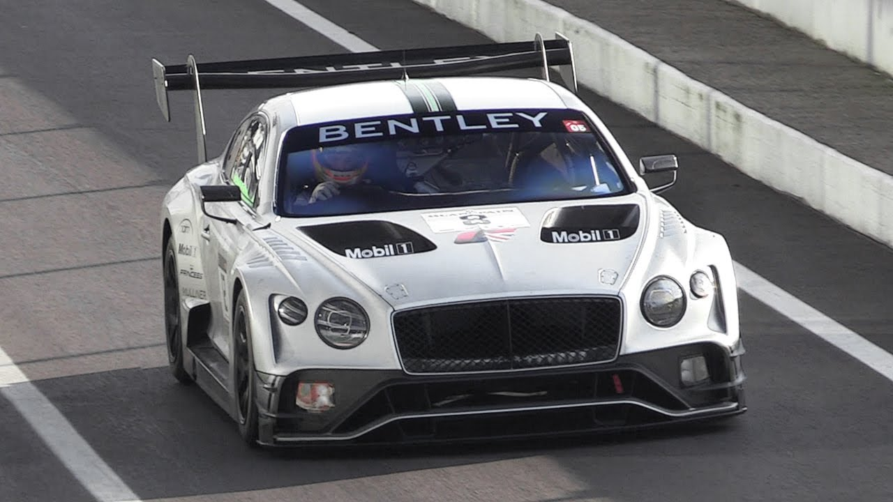 2018 bentley continental gt3 testing at monza  4 0 twin-turbo v8 roar