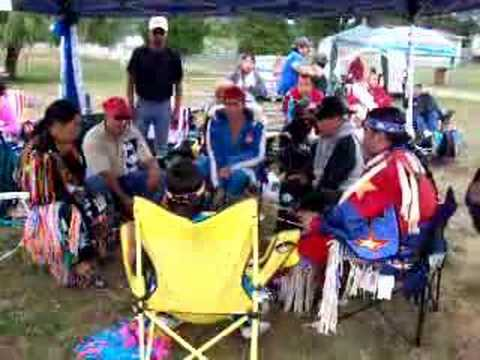 Fort Langley Native Kwantlen pow wow drummers BC Indian band