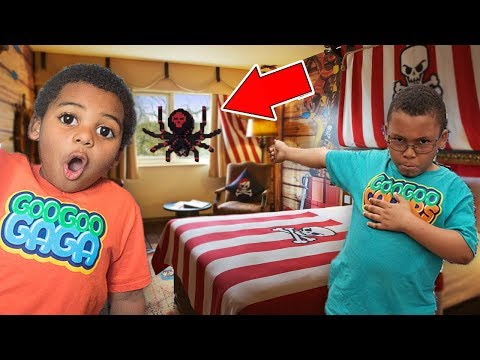 BIG SPIDER IN OUR LEGOLAND HOTEL ROOM! FAMILY VACATION TOUR WITH ZZ KIDS TV
