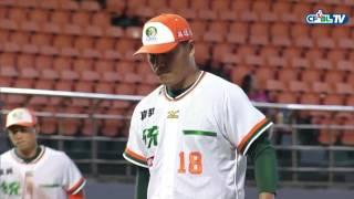 05/14 Lamigo vs 統一 二局上,林智平一壘方向平飛球直接遭高國慶接殺,跑者回壘不及形成雙殺守備