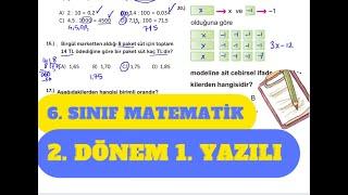 6. Sınıf Matematik 2. Dönem 1. Yazılı Hazırlık Çalışma Soruları Çözümü