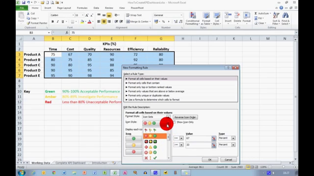 how to create a basic kpi dashboard in excel 2010 youtube