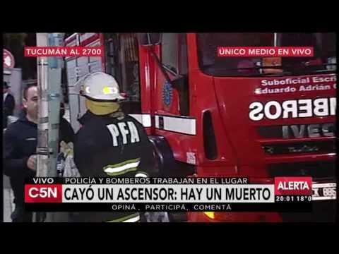 C5N - El Diario: Cayó un ascensor de un edificio y hay un muerto