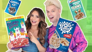 Trying EVEN MORE Weird Cereals w/ Rosanna Pansino! (Part 4)