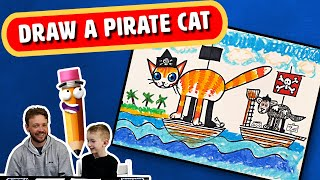 How to Draw a Pirate cat | Art for Kids | Tutorial step by step